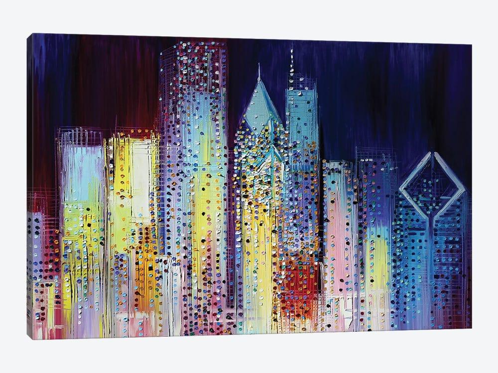 Night Skyline by Ekaterina Ermilkina 1-piece Canvas Art