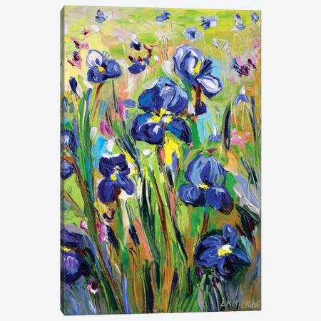 Iris Garden Canvas Print #ERM93} by Ekaterina Ermilkina Canvas Print