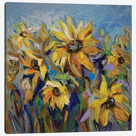 Sunflowers Canvas Print #ERM94} by Ekaterina Ermilkina Canvas Art