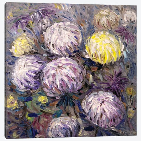 Chrysanthemums Canvas Print #ERM97} by Ekaterina Ermilkina Canvas Wall Art