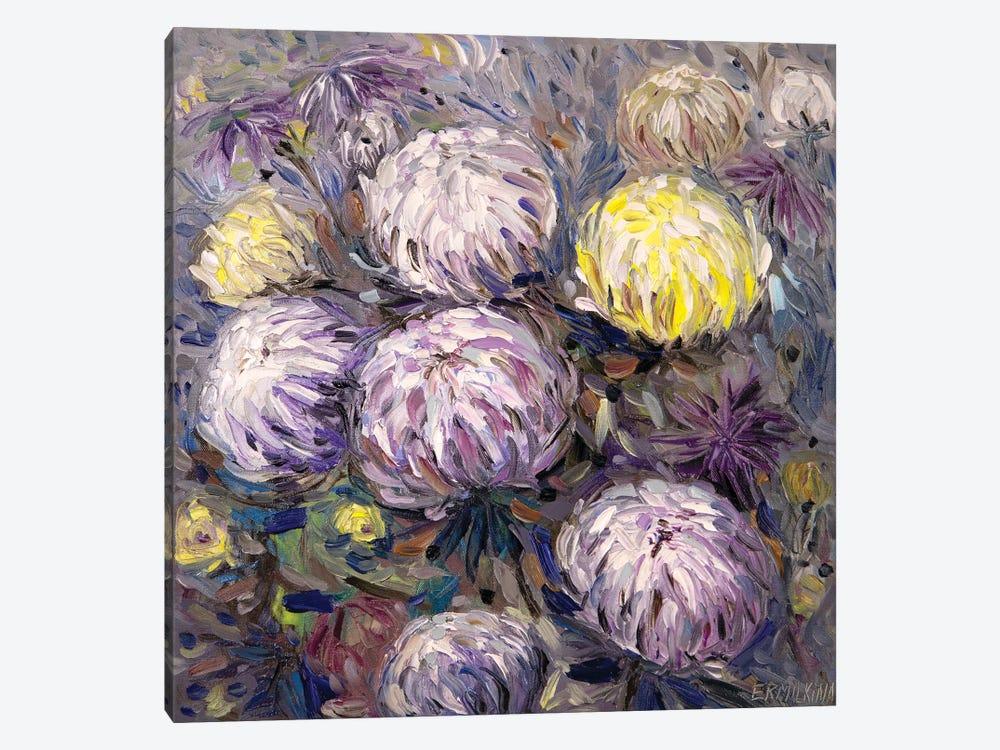 Chrysanthemums by Ekaterina Ermilkina 1-piece Canvas Art Print