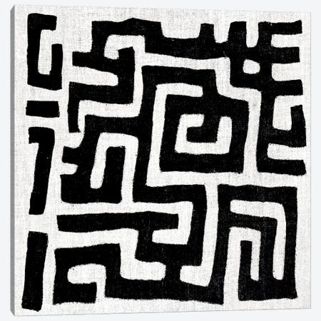 Mudcloth White Geometric Design I Canvas Print #ERO102} by Ellie Roberts Art Print