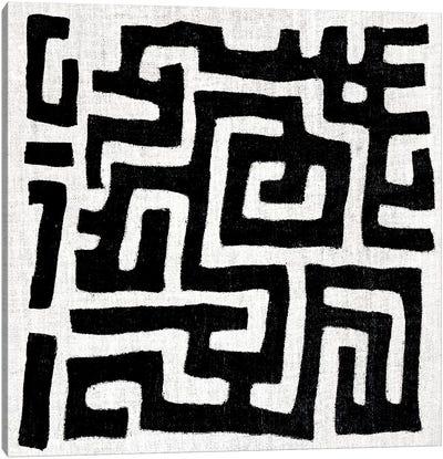 Mudcloth White Geometric Design I Canvas Art Print