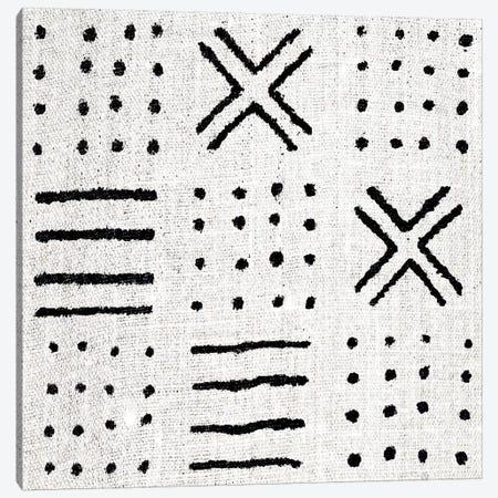 Mudcloth White Geometric Design II Canvas Print #ERO103} by Ellie Roberts Canvas Art Print