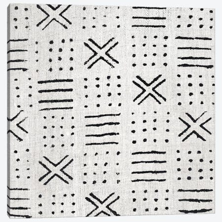 Mudcloth White Geometric Design III Canvas Print #ERO104} by Ellie Roberts Canvas Artwork