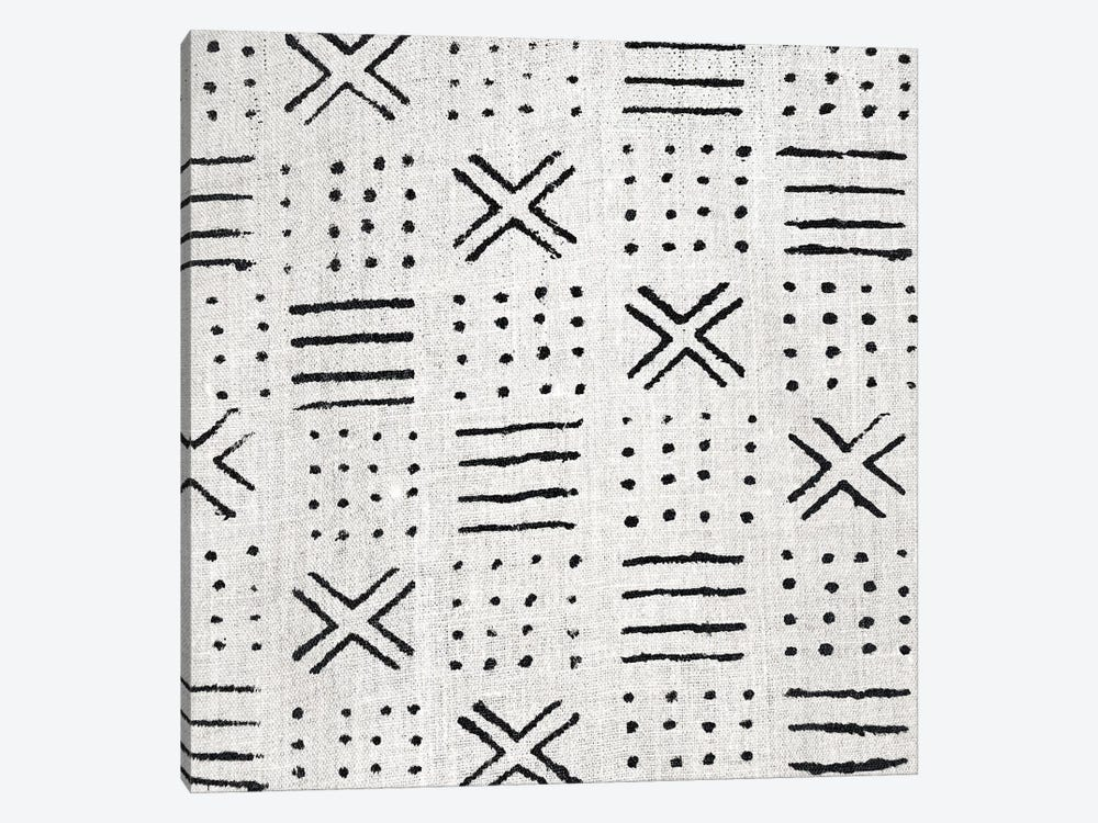 Mudcloth White Geometric Design III by Ellie Roberts 1-piece Canvas Art