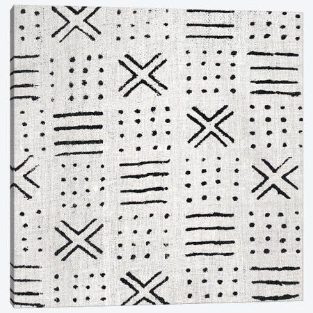 Mudcloth White Geometric Design III Canvas Print #ERO104} by Ellie Roberts Canvas Artwork