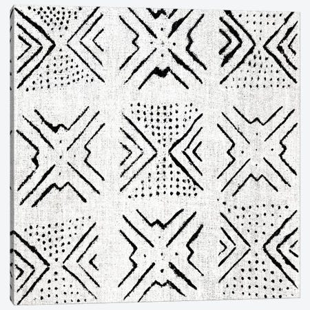 Mudcloth White Geometric Design IV Canvas Print #ERO105} by Ellie Roberts Canvas Wall Art