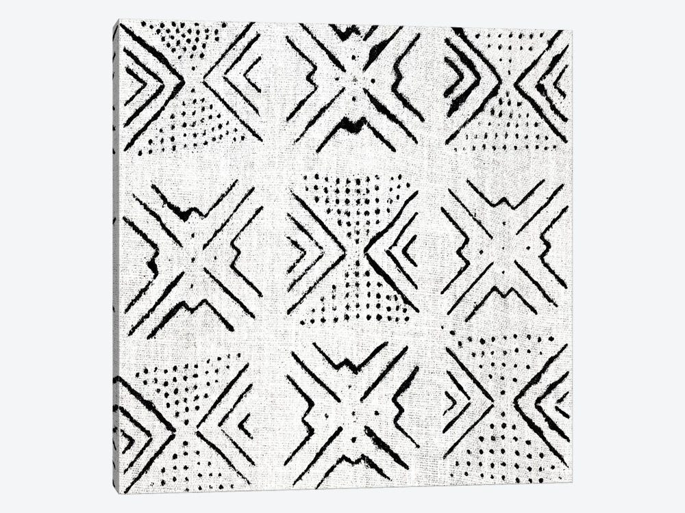 Mudcloth White Geometric Design IV by Ellie Roberts 1-piece Canvas Art Print