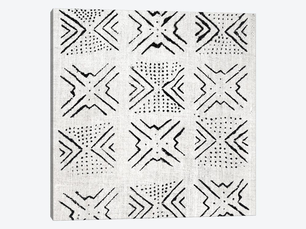 Mudcloth White Geometric Design V by Ellie Roberts 1-piece Canvas Art