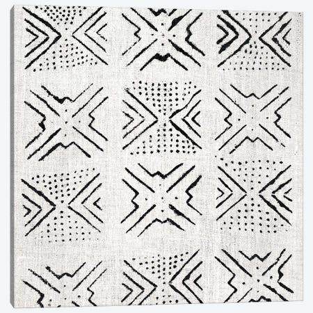 Mudcloth White Geometric Design V Canvas Print #ERO106} by Ellie Roberts Canvas Art