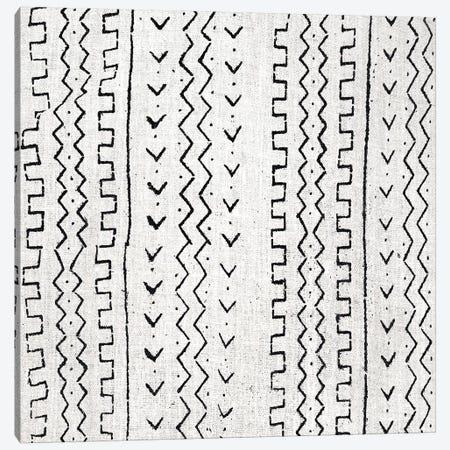 Mudcloth White Geometric Design VI Canvas Print #ERO107} by Ellie Roberts Canvas Artwork