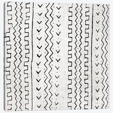 Mudcloth White Geometric Design VI Canvas Print #ERO107} by Ellie Roberts Canvas Artwork
