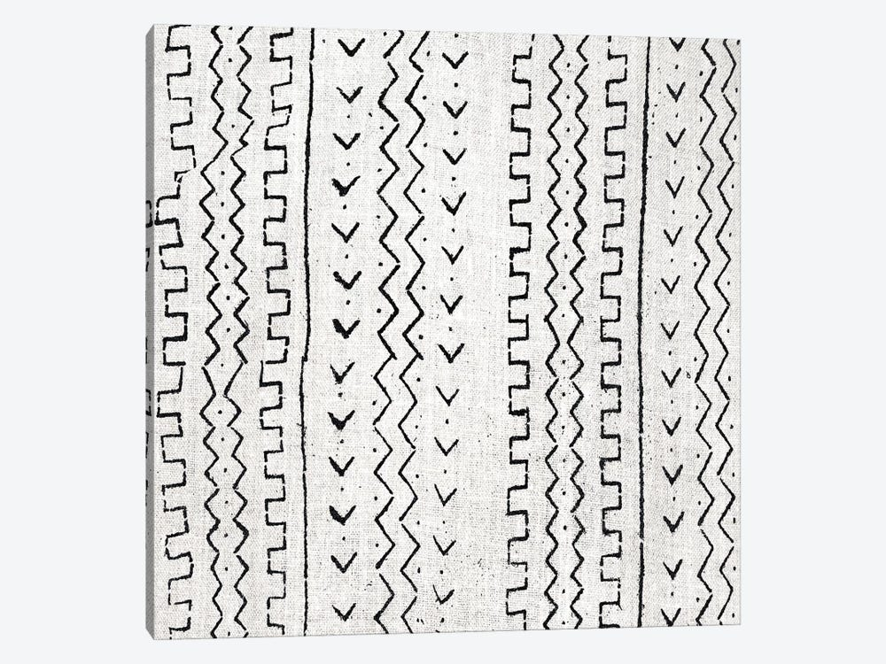 Mudcloth White Geometric Design VI by Ellie Roberts 1-piece Canvas Art Print