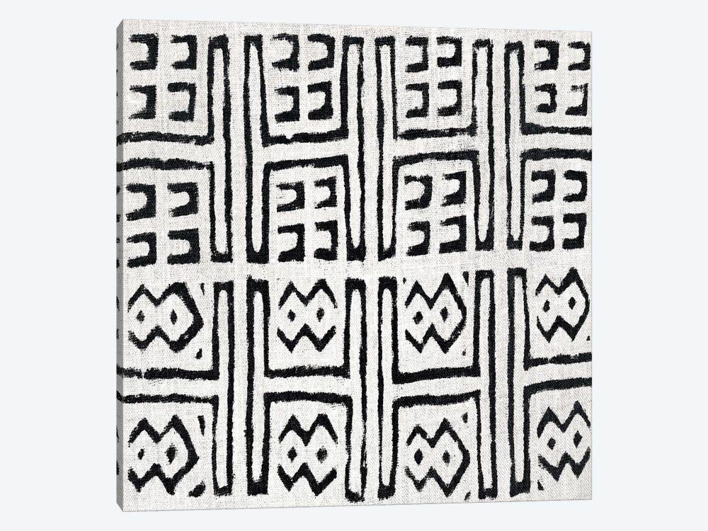 Mudcloth White Geometric Design VII by Ellie Roberts 1-piece Canvas Wall Art