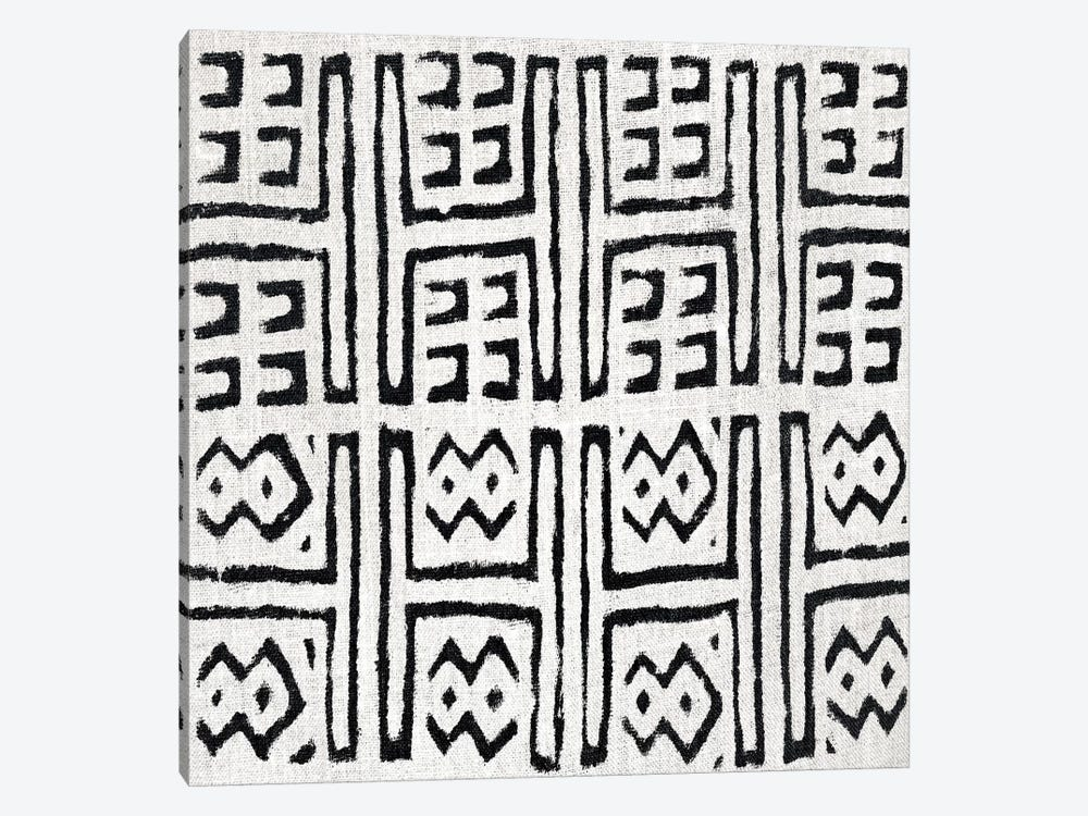 Mudcloth White Geometric Design VII by Ellie Roberts 1-piece Canvas Wall Art