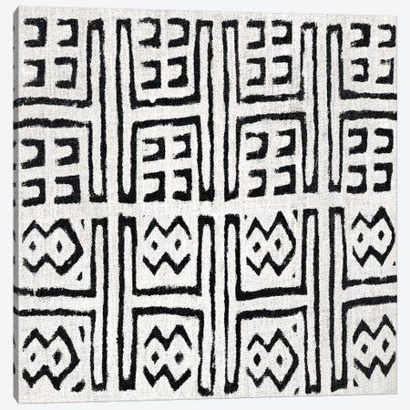 Mudcloth White Geometric Design VII Canvas Print #ERO108} by Ellie Roberts Canvas Print