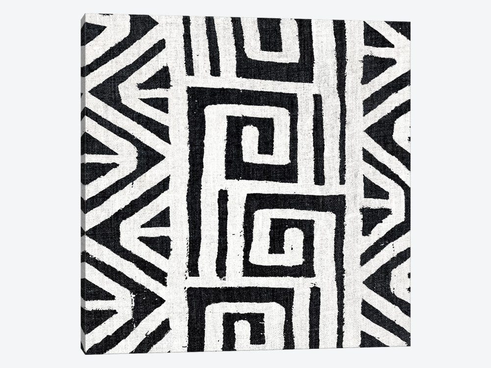 Mudcloth White Geometric Design VIII by Ellie Roberts 1-piece Canvas Print