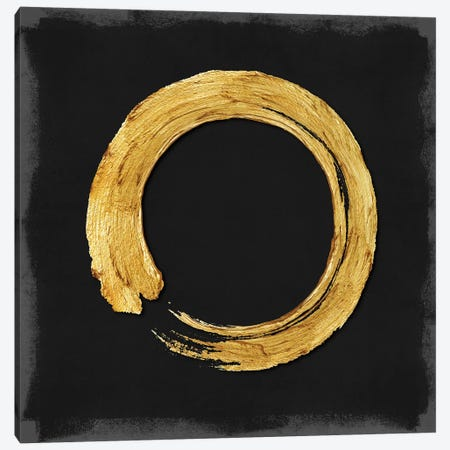 Gold Zen Circle On Black I Canvas Print #ERO126} by Ellie Roberts Canvas Wall Art
