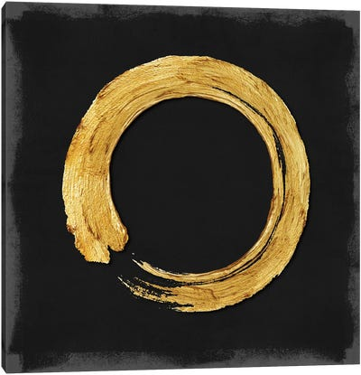 Gold Zen Circle On Black I Canvas Art Print