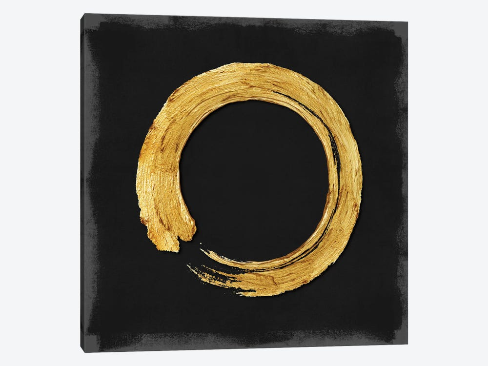 Gold Zen Circle On Black I 1-piece Canvas Wall Art