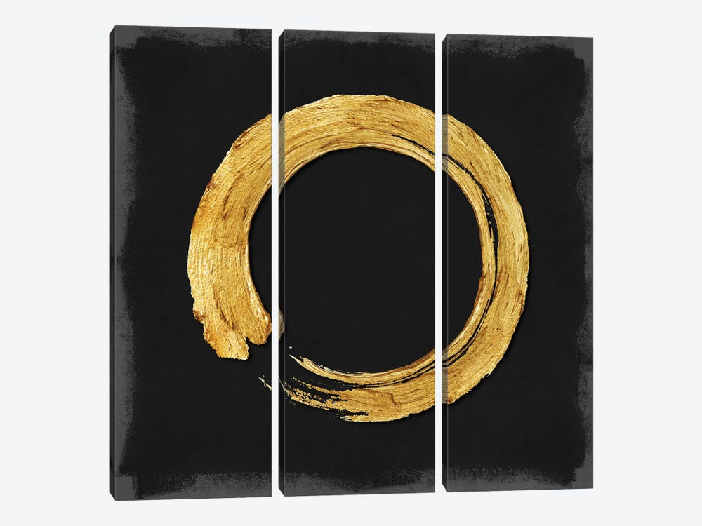 Gold Zen Circle On Black I by Ellie Roberts 3-piece Canvas Artwork