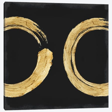 Gold Zen Circle On Black II Canvas Print #ERO127} by Ellie Roberts Canvas Artwork