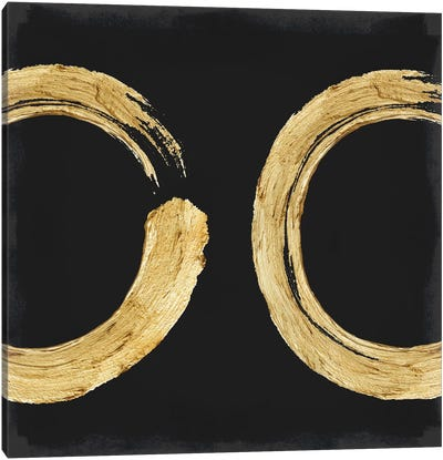 Gold Zen Circle On Black II Canvas Art Print