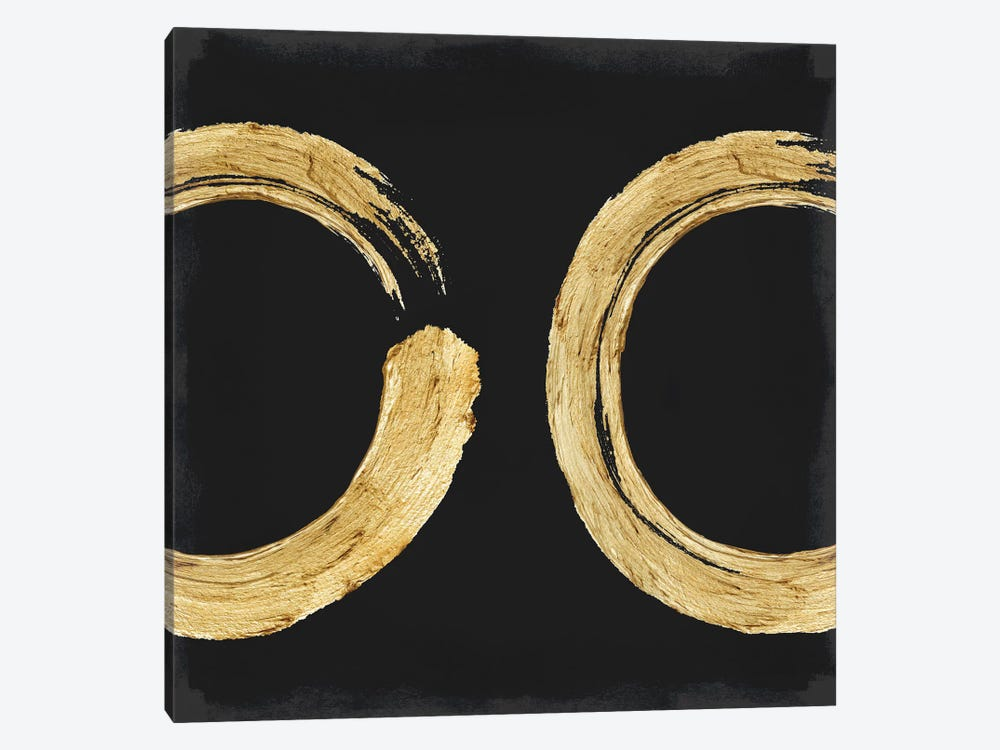 Gold Zen Circle On Black II by Ellie Roberts 1-piece Art Print