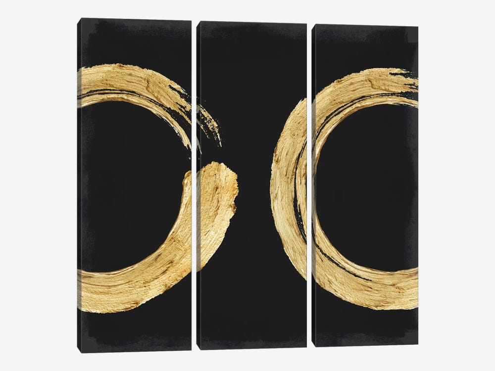 Gold Zen Circle On Black II by Ellie Roberts 3-piece Canvas Art Print