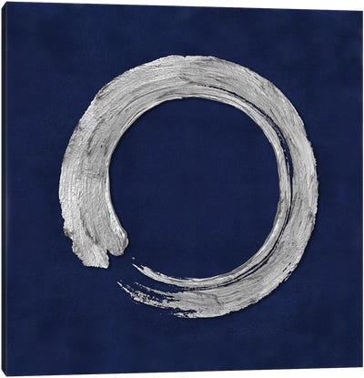Silver Zen Circle On Blue I Canvas Art Print