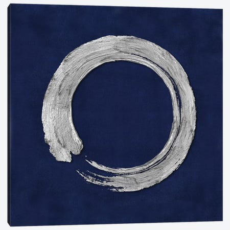 Silver Zen Circle On Blue I 3-Piece Canvas #ERO128} by Ellie Roberts Art Print