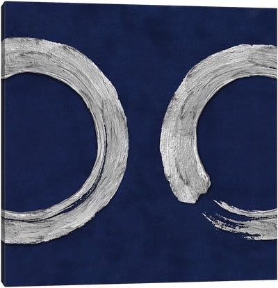 Silver Zen Circle On Blue II Canvas Art Print