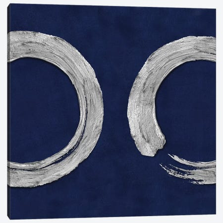 Silver Zen Circle On Blue II 3-Piece Canvas #ERO129} by Ellie Roberts Canvas Print