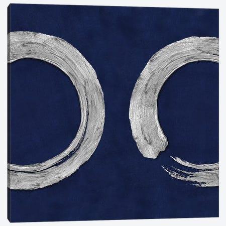 Silver Zen Circle On Blue II Canvas Print #ERO129} by Ellie Roberts Canvas Print