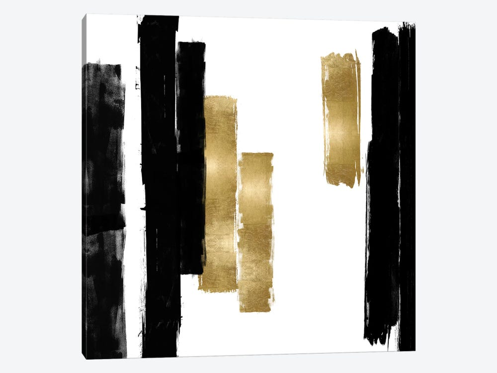 Vertical Black and Gold I by Ellie Roberts 1-piece Canvas Wall Art