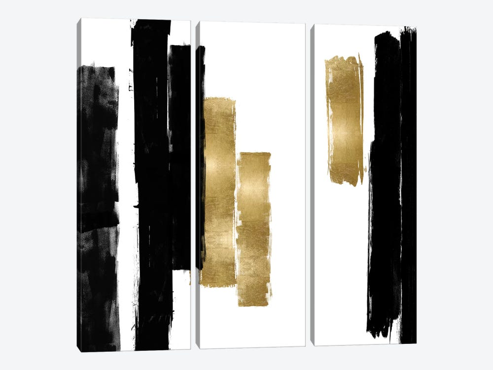 Vertical Black and Gold I by Ellie Roberts 3-piece Canvas Wall Art