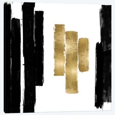 Vertical Black and Gold II 3-Piece Canvas #ERO136} by Ellie Roberts Canvas Art Print