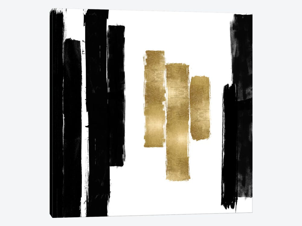 Vertical Black and Gold II by Ellie Roberts 1-piece Art Print