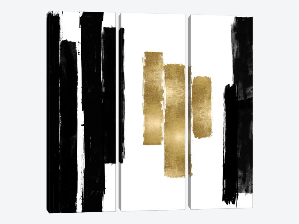 Vertical Black and Gold II by Ellie Roberts 3-piece Art Print
