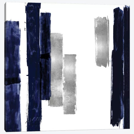 Vertical Blue and Silver I Canvas Print #ERO137} by Ellie Roberts Art Print