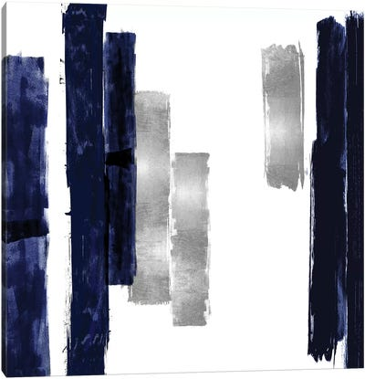 Vertical Blue and Silver I Canvas Art Print