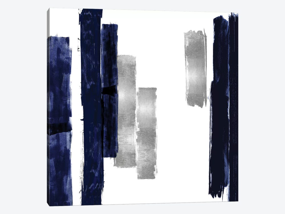 Vertical Blue and Silver I by Ellie Roberts 1-piece Canvas Artwork