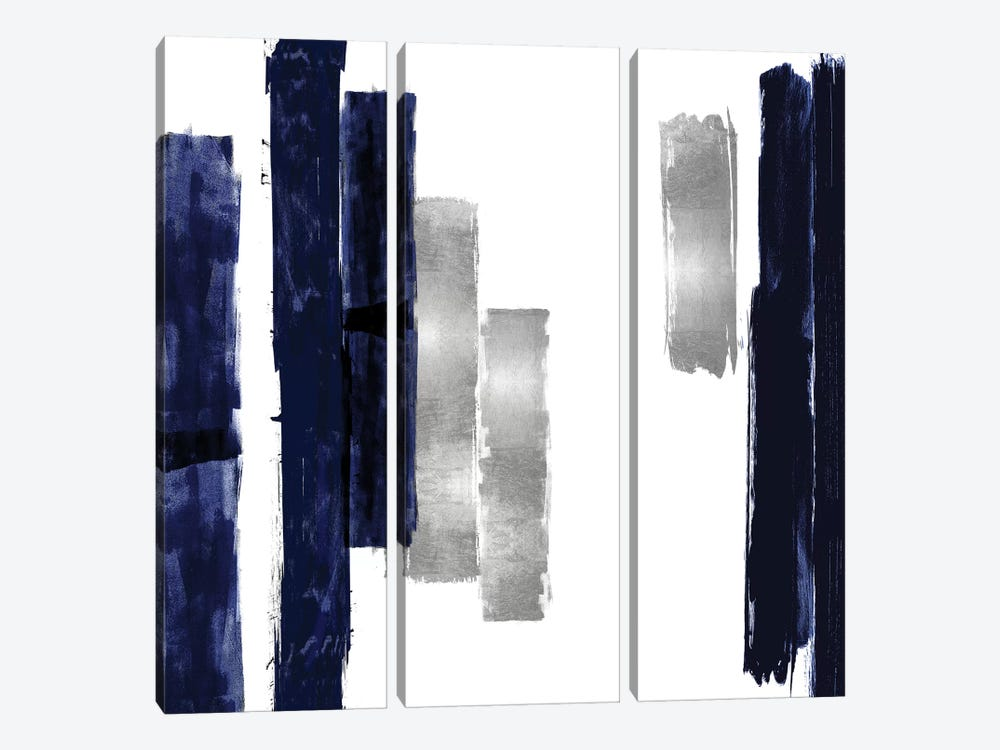 Vertical Blue and Silver I by Ellie Roberts 3-piece Canvas Art