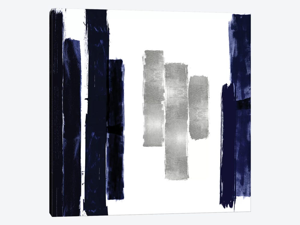 Vertical Blue and Silver II by Ellie Roberts 1-piece Canvas Art Print