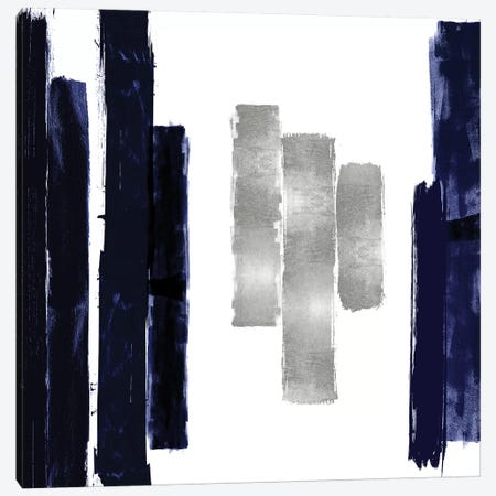 Vertical Blue and Silver II Canvas Print #ERO138} by Ellie Roberts Canvas Wall Art