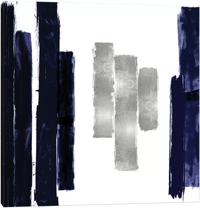 Vertical Blue and Silver II Canvas Art Print