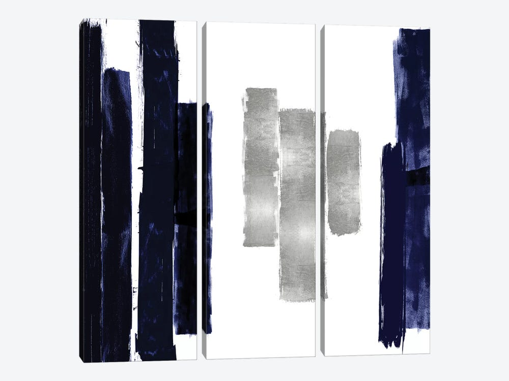Vertical Blue and Silver II by Ellie Roberts 3-piece Canvas Print