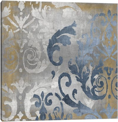 Damask in Silver and Gold I Canvas Art Print
