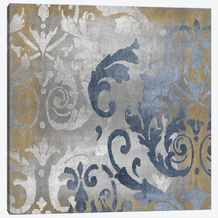 Damask in Silver and Gold I Canvas Print #ERO143} by Ellie Roberts Canvas Art Print